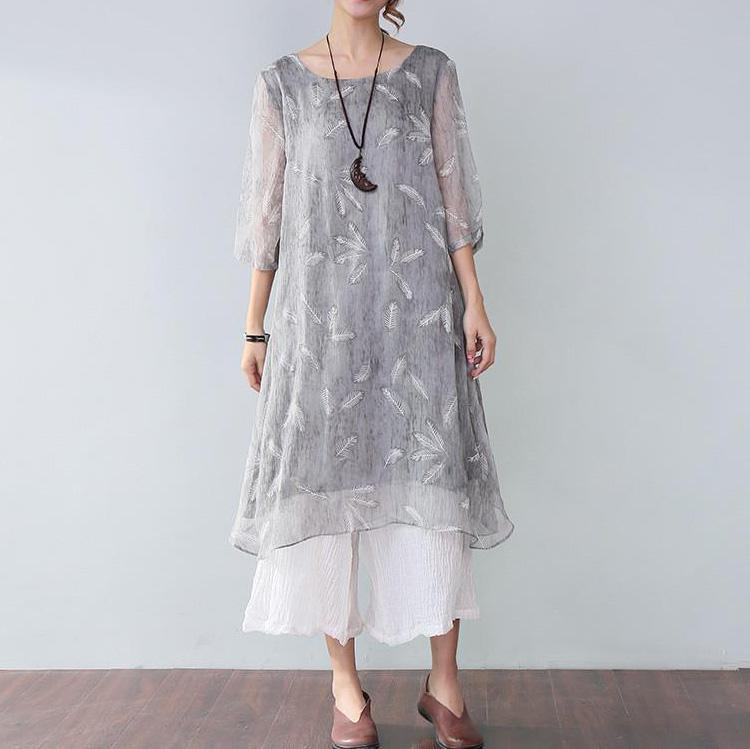 baggy natural silk linen dress oversize Stylish Printing Lining Elbow Sleeves Gray Dress