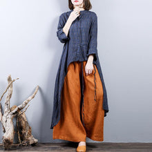 Load image into Gallery viewer, baggy navy jacquard  2018 fall blouse trendy plus size linen clothing asymmetric Fine low high design cotton shirt