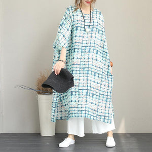 baggy print long linen dress Loose fitting o neck linen clothing dresses Fine Batwing Sleeve side open gown