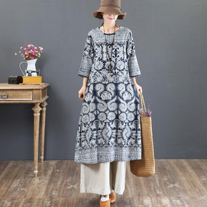 baggy prints long linen dress Loose fitting o neck linen gown top quality maxi dresses