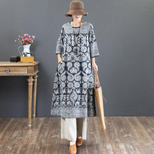 Load image into Gallery viewer, baggy prints long linen dress Loose fitting o neck linen gown top quality maxi dresses