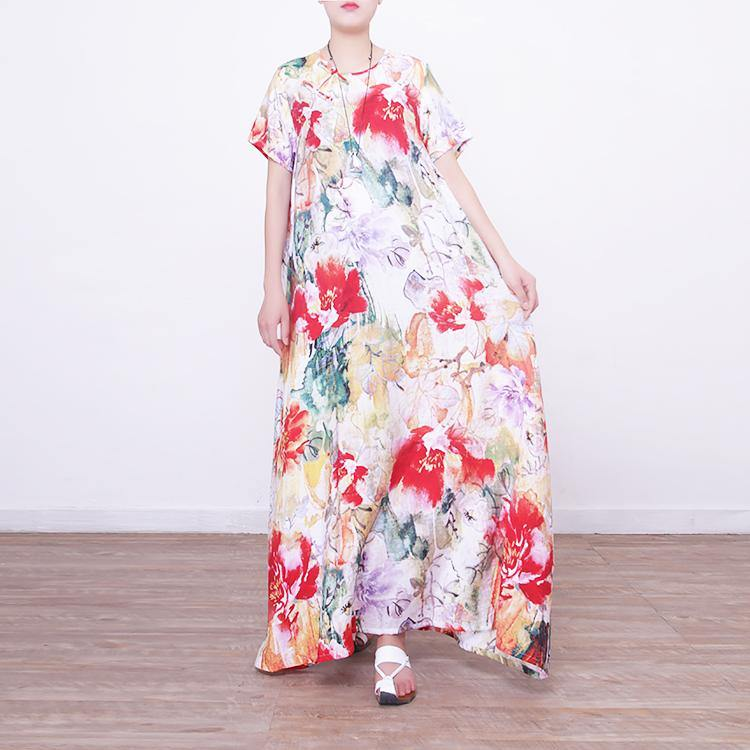 baggy prints long linen dresses oversized o neck linen gown boutique Chinese Button caftans