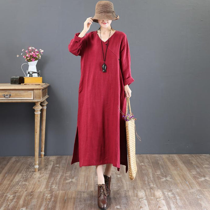 baggy red  natural linen dress  plussize linen maxi dress side open women v neck natural linen dress