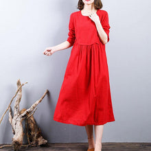 Load image into Gallery viewer, baggy red 2018 fall dress plus size clothing linen maxi dress o neck patchwork autumn dress