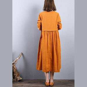 baggy red 2018 fall dress plus size clothing linen maxi dress o neck patchwork autumn dress