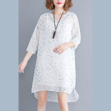 Load image into Gallery viewer, baggy white floral chiffon dresses oversized chiffon dress boutique Three Quarter sleeve side open O neck natural chiffon dress