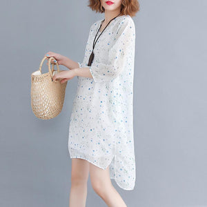 baggy white floral chiffon dresses oversized chiffon dress boutique Three Quarter sleeve side open O neck natural chiffon dress