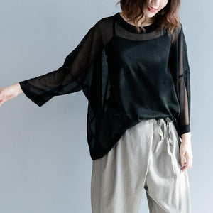 baggy white linen blended blouse casual traveling clothing Fine baggy o neck Batwing Sleeve linen blended tops