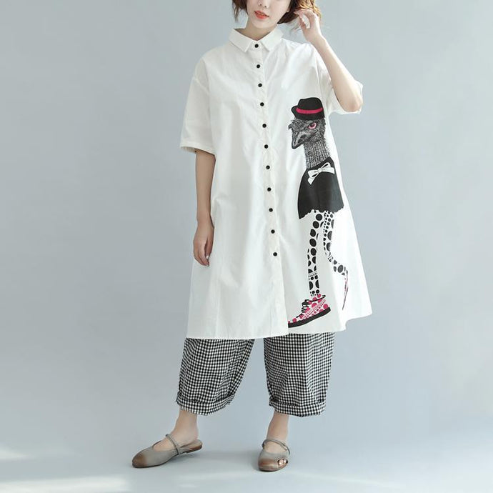 baggy white print cotton trendy tops plus size Turn-down Collar baggy traveling clothing vintage half sleeve T shirt