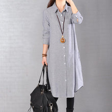 Load image into Gallery viewer, baggy blue Midi-length linen dress oversize linen shirts dresses boutique lapel collar striped cotton clothing