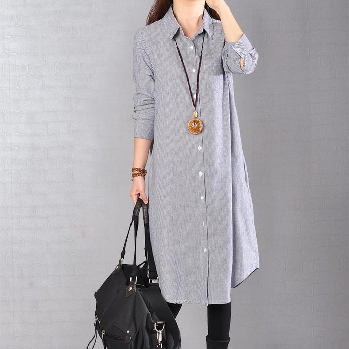 baggy blue Midi-length linen dress oversize linen shirts dresses boutique lapel collar striped cotton clothing