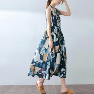 baggy blue cotton dresses oversized prints traveling dress casual sleeveless maxi dress