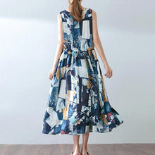 Load image into Gallery viewer, baggy blue cotton dresses oversized prints traveling dress casual sleeveless maxi dress