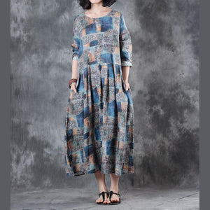 baggy blue prints linen maxi dress Loose fitting waist drawstringtraveling dress New o neck caftans