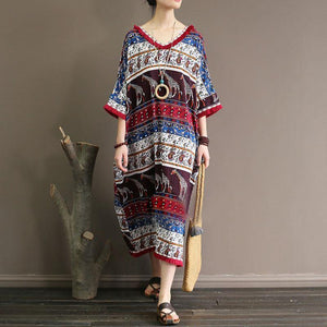 baggy cotton dress Loose fitting Ethnic Printed 12 Sleeve V Neck Summer Dress