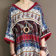 Load image into Gallery viewer, baggy cotton dress Loose fitting Ethnic Printed 12 Sleeve V Neck Summer Dress