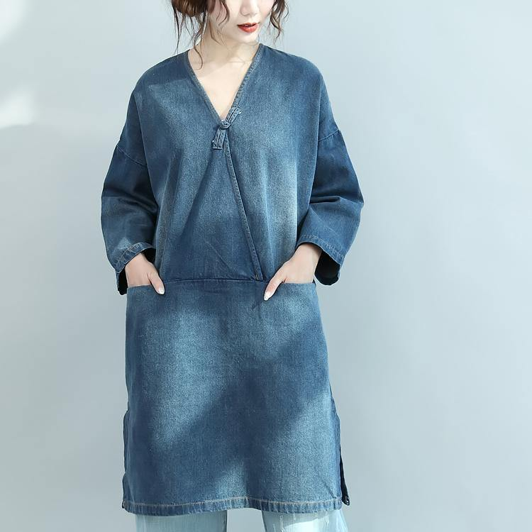 baggy denim blue natural cotton dress plus size linen maxi dress 2018 V neck long sleeve cotton clothing dresses