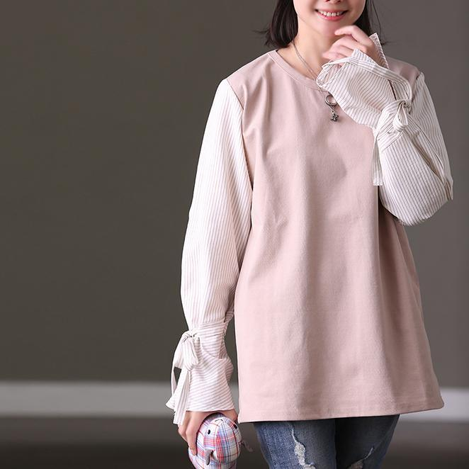 Baggy Khaki Linen Loose Fitting Linen Clothing Blouses Boutique O Neck Patchwork Linen T Shirt