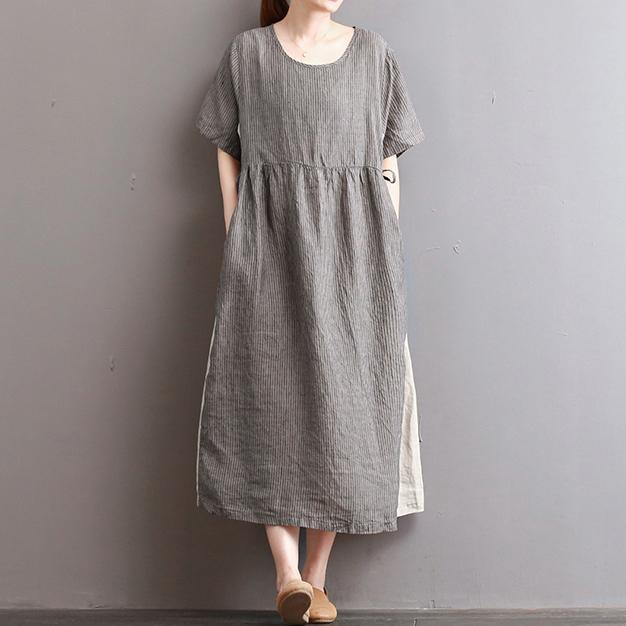baggy light gray striped long linen dresses oversize patchwork gown vintage kaftans