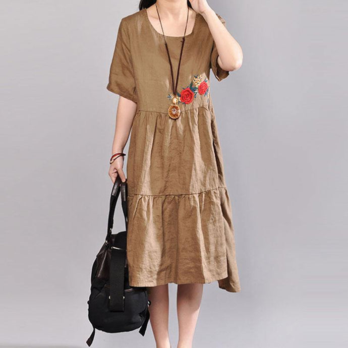 baggy linen dresses plus size clothing Embroidered Round Neck Short Sleeve Flax Coffee Dress