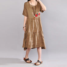 Load image into Gallery viewer, baggy linen dresses plus size clothing Embroidered Round Neck Short Sleeve Flax Coffee Dress