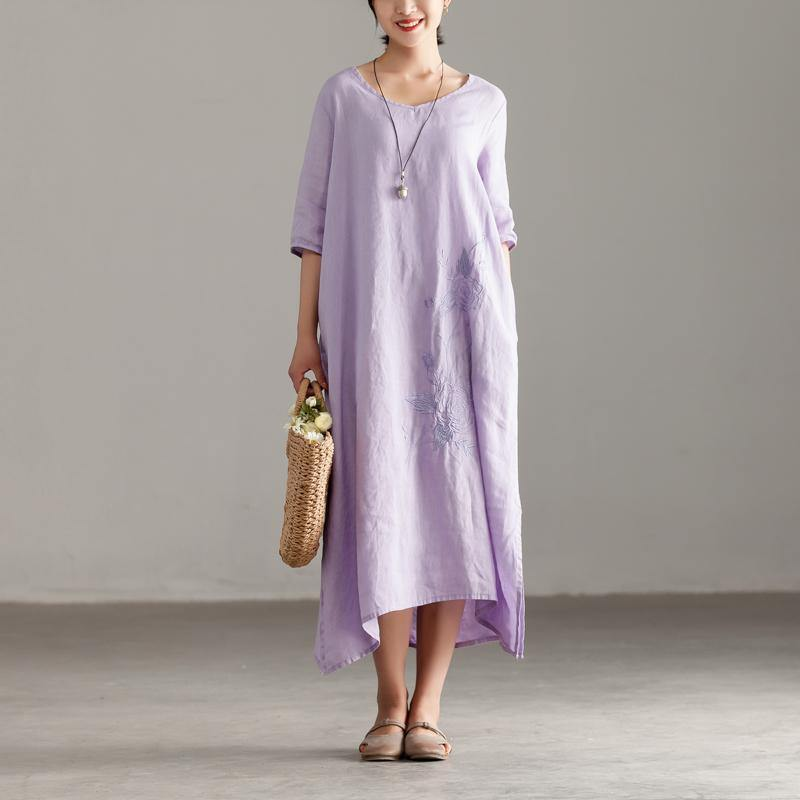 baggy long linen dress plus size Casual Pleated Short Sleeve Embroidery Summer Light Purple Dress