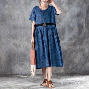 baggy long linen dresses Loose fitting Printed Lacing Short Sleeve Dresses Blue Pleated Dress