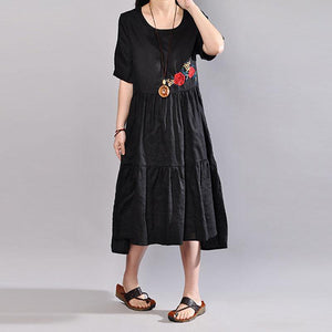 baggy long linen dresses trendy plus size Embroidered Round Neck Short Sleeve Flax Black Dress