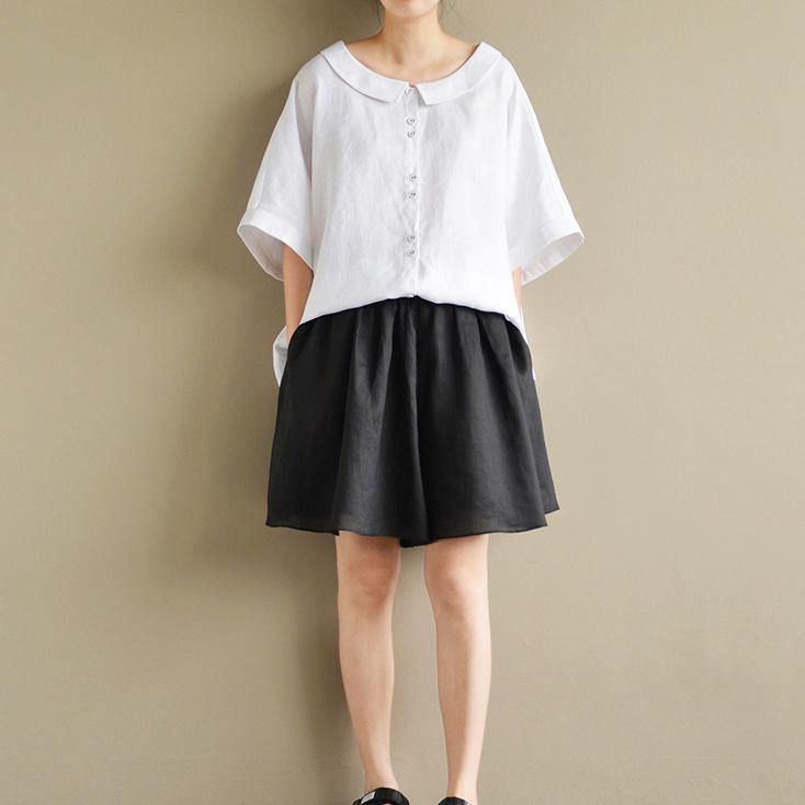 baggy loose white linen women blouse oversize tops Peter pan Collar shirts