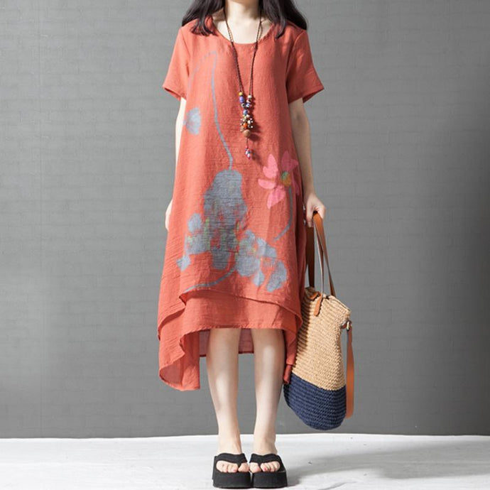 baggy orange asymmetric hem cotton sundress oversize casual dresses o neck maxi dress
