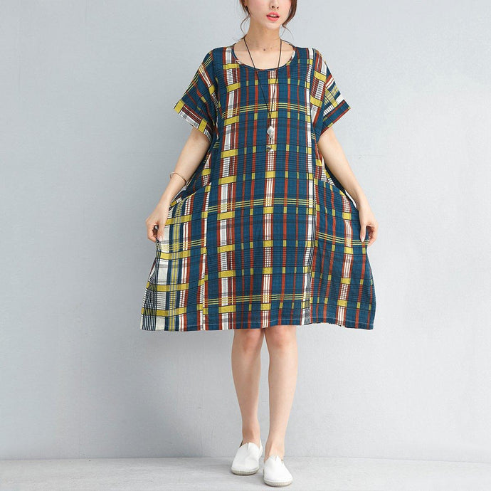 baggy patchwork color plaid pure linen dress trendy plus size casual dress Fine o neck short sleeve cotton dress