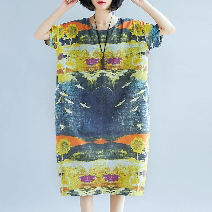 baggy prints natural linen dress trendy plus size short sleeve linen clothing dress vintage o neck kaftans