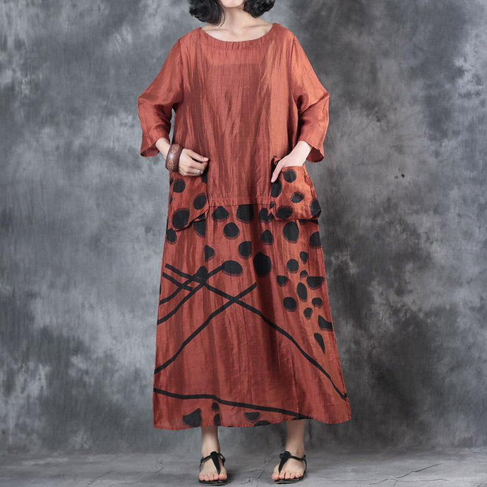baggy red  long silk linen dress casual big pockets linen gown Fine patchwork caftans
