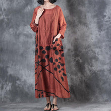 Load image into Gallery viewer, baggy red  long silk linen dress casual big pockets linen gown Fine patchwork caftans