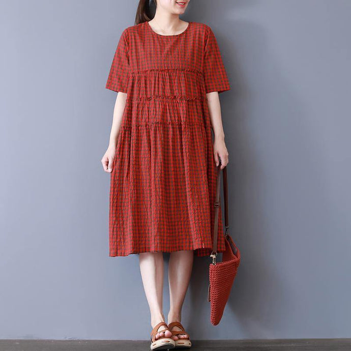 baggy red plaid natural cotton dress  Loose fitting casual dress casual o neck patchwork midi dress