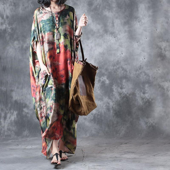 baggy summer multi vintage silk dresses plus size casual sundress batwing sleeve maxi dress