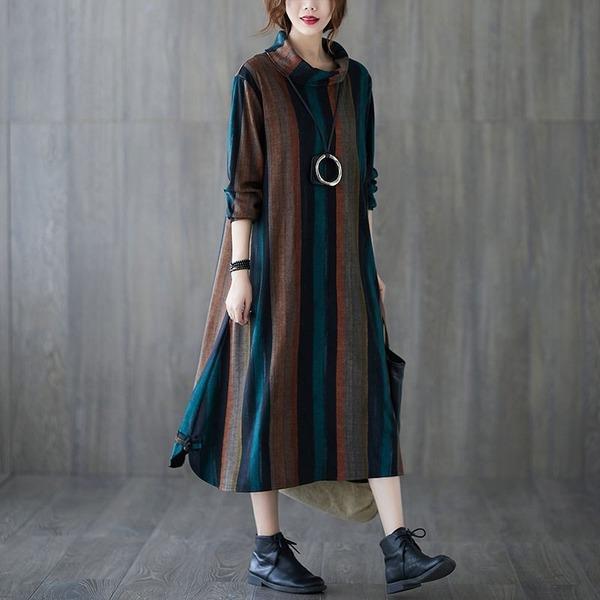 Plus Size Women Casual Long Dress New 2020 Thick Warm Dresses