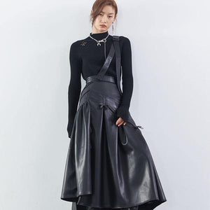 Patchwork Wrinkle Bow Solid PU Skirt Women 2020 Winter Casual Fashion Clothes