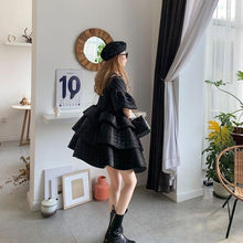 Load image into Gallery viewer, Plaid Dress Fashion New Women Black Perter Pan Collar Small Fresh 2020 Winter Goddess Fan Casual Loose Dress