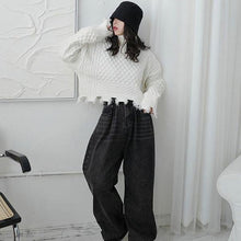 Load image into Gallery viewer, Spring New Sweater Knitting Splicing Broken Edge Tassel Women Casual Fashion Turtleneck Collar Solid Color
