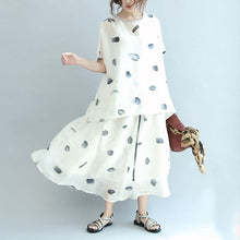 Load image into Gallery viewer, beige casual dotted linen tops and exra large hem skirts two pieces