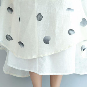 beige casual dotted linen tops and exra large hem skirts two pieces