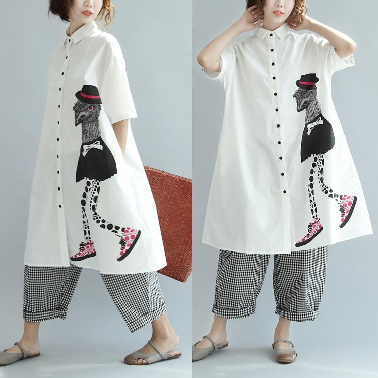 beige prints turn-down collar cotton sundress plus size casual summer dresses short sleeve shirt dress