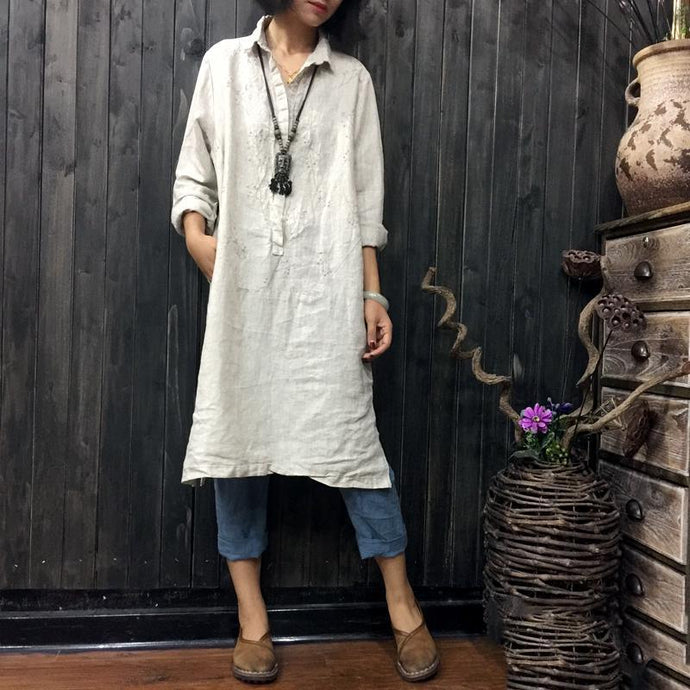 beige white embroidery linen shirt plus size casual long sleeve tops