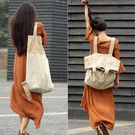 beige white patchwork large canbas-linen backpack-shoulder bag
