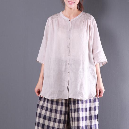 beige wrinkled casual linen blouse oversize stylish shirts o neck blouse