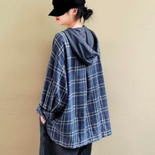 Load image into Gallery viewer, Style Plaid Patchwork Female Hooded Pullovers