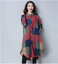 Load image into Gallery viewer, omychic plus size cotton wool vintage for women casual loose autumn winter shirt dress