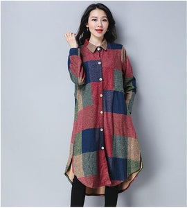 omychic plus size cotton wool vintage for women casual loose autumn winter shirt dress