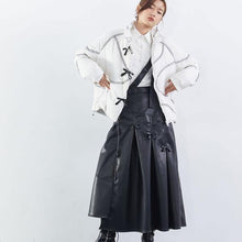 Load image into Gallery viewer, Patchwork Wrinkle Bow Solid PU Skirt Women 2020 Winter Casual Fashion Clothes